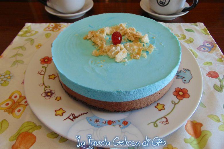 Torta fredda puffo e cioccolato