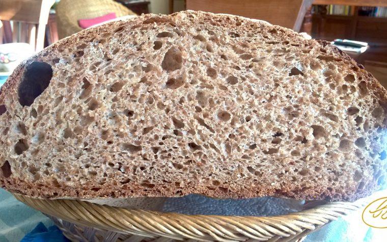 Pane integrale 100% con pasta madre nel forno Estense