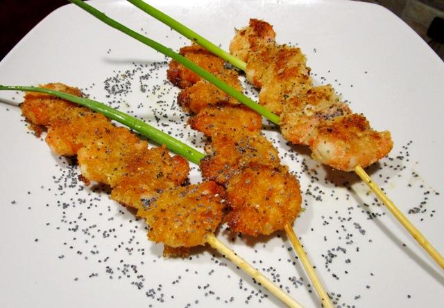 Spiedini di mazzancolle gratinati le ricette di tatiana for Spiedini di pesce gratinati