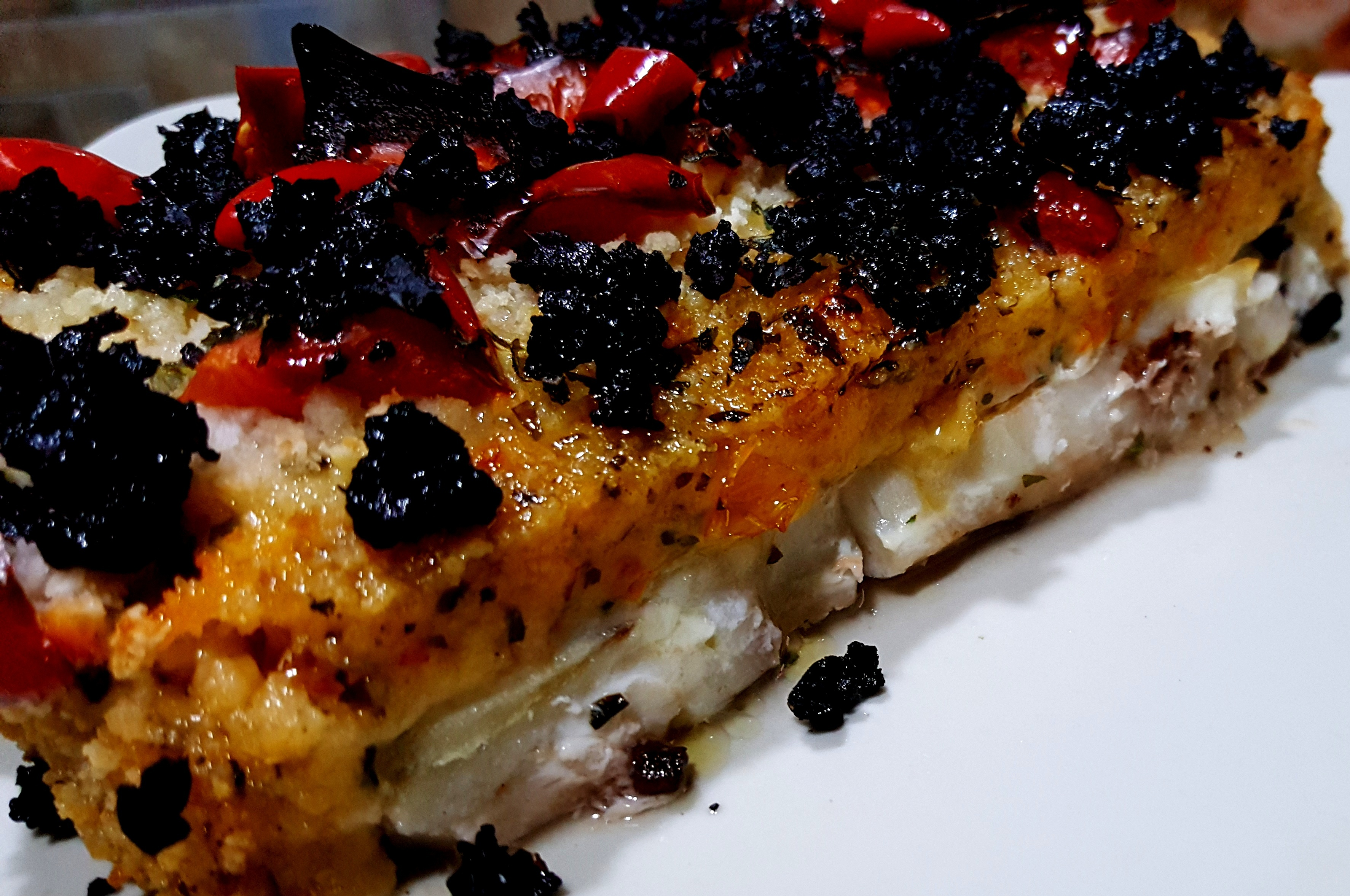 Merluzzo in crosta di pomodoro o olive