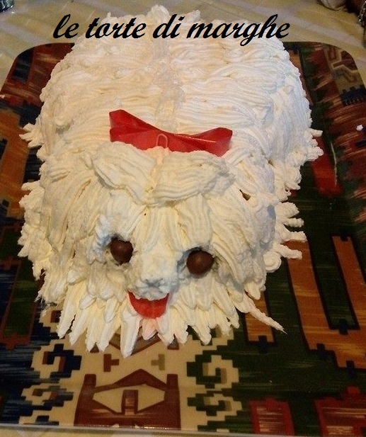 torta a forma cane shih tzu  con panna