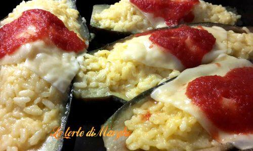 Melanzane ripiene di riso gratinati al forno