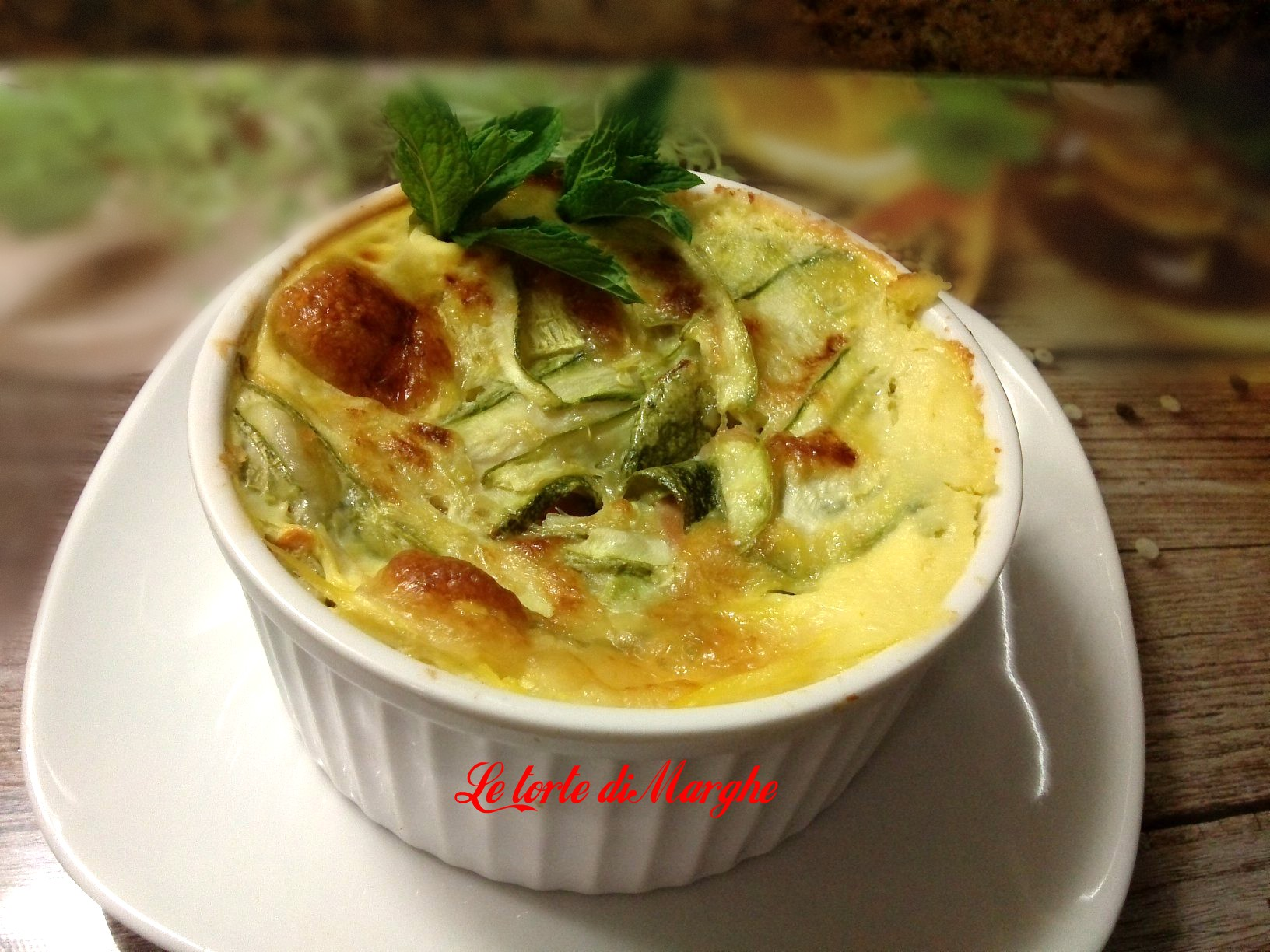 Tortino di zucchine con crema di zucca