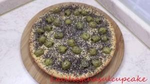 Focaccia alla ricotta, olive e semi di chia