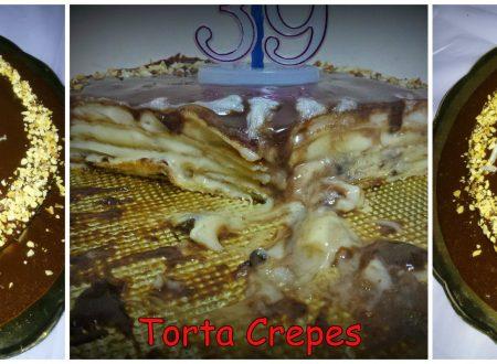 Torta Crepes alla crema con glassa alla nutella