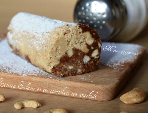 Ricetta Salame ai tre cioccolati con arachidi
