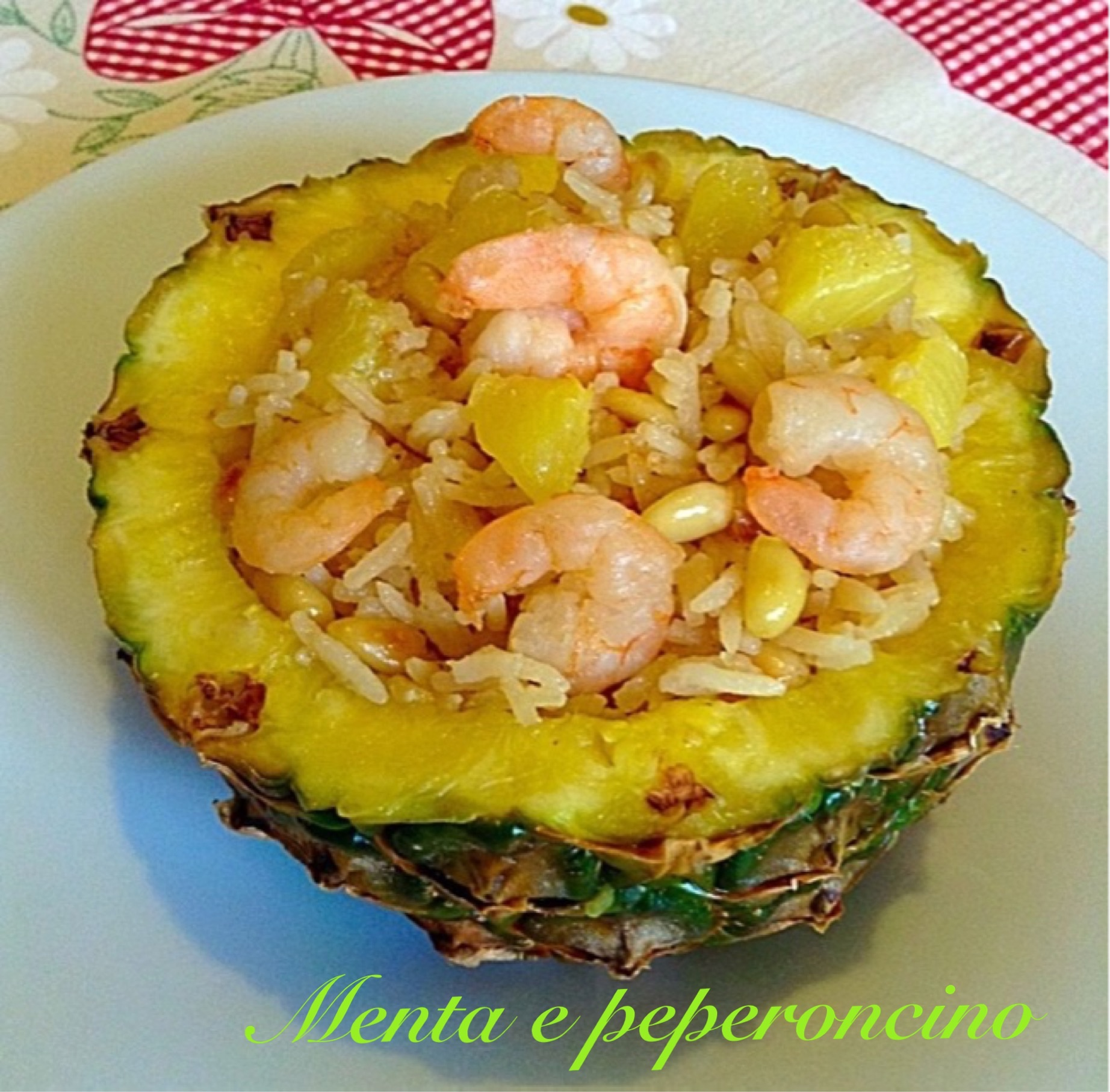 Ricetta Riso con ananas pinoli e gamberi