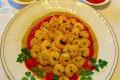 Gamberi al curry con salse ai peperoni