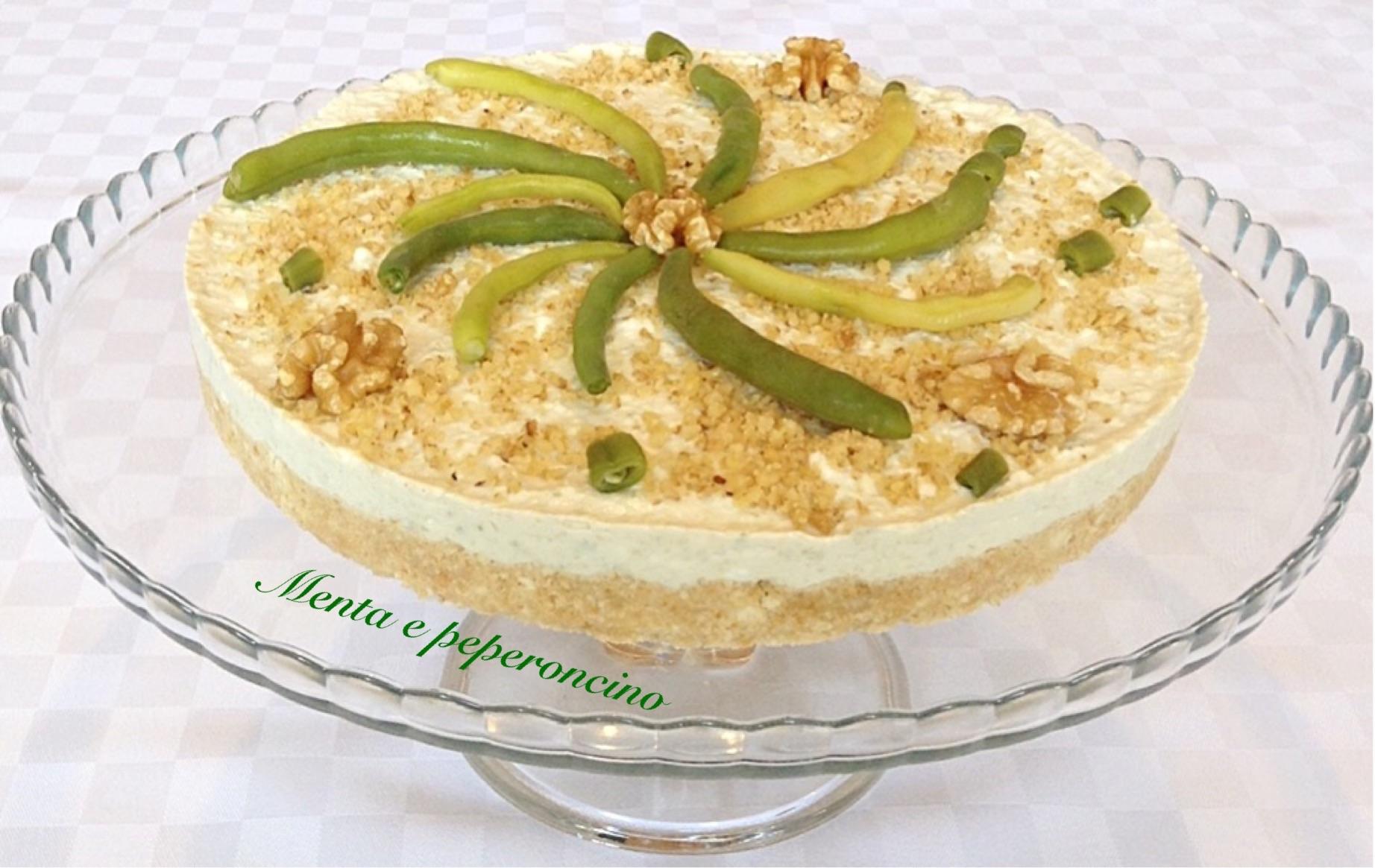 Cheesecake con leggero pesto di fagiolini