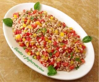 insalata di farro con tonno e verdure