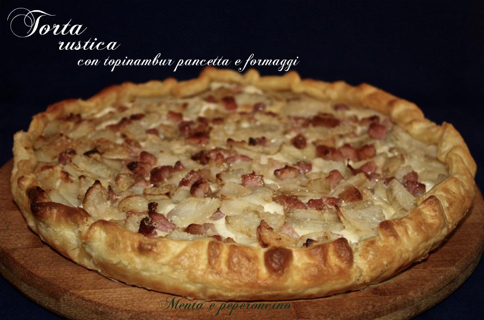 Torta rustica con topinambur pancetta e formaggi