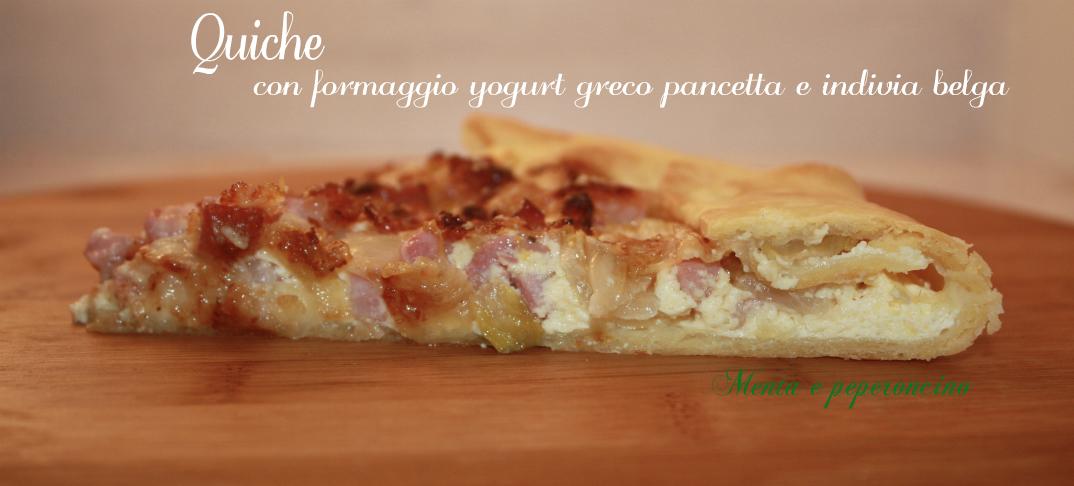 Quiche con formaggio yogurt greco pancetta e indivia belga