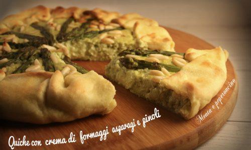 Quiche con crema di formaggi asparagi e pinoli