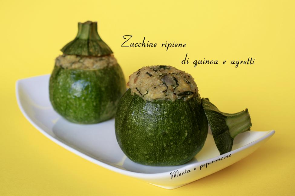 Zucchine ripiene di quinoa e agretti