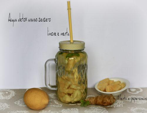 Acqua detox ananas zenzero limone e menta