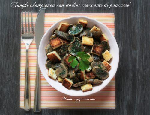 Funghi champignon con dadini croccanti di pancarrè