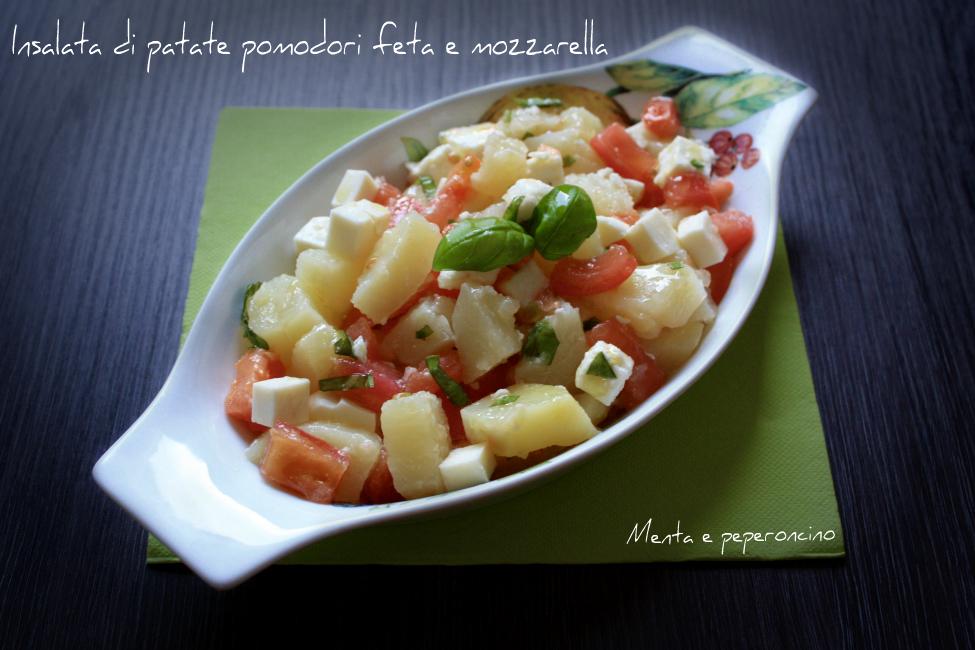Insalata di patate pomodori feta e mozzarella