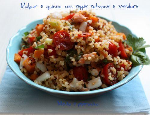 Bulgur e quinoa con seppie salmone e verdure