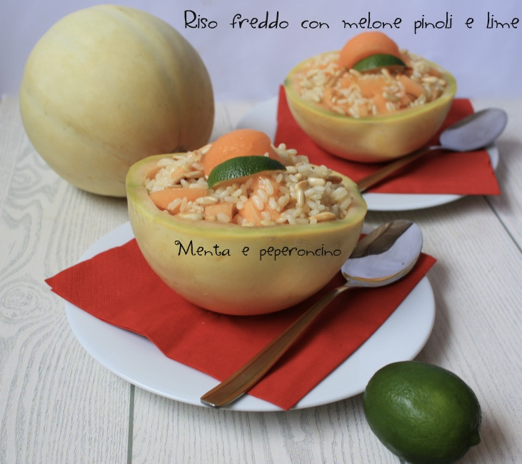 Riso freddo con melone pinoli e lime
