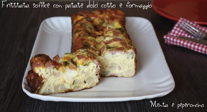 Frittata soffice con patate dolci cotto e formaggio