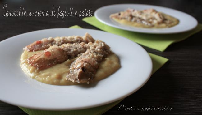 Canocchie su crema di fagioli e patate