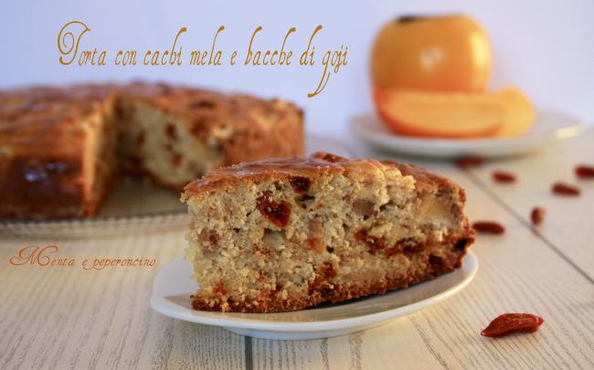 Torta con cachi mela e bacche di goji