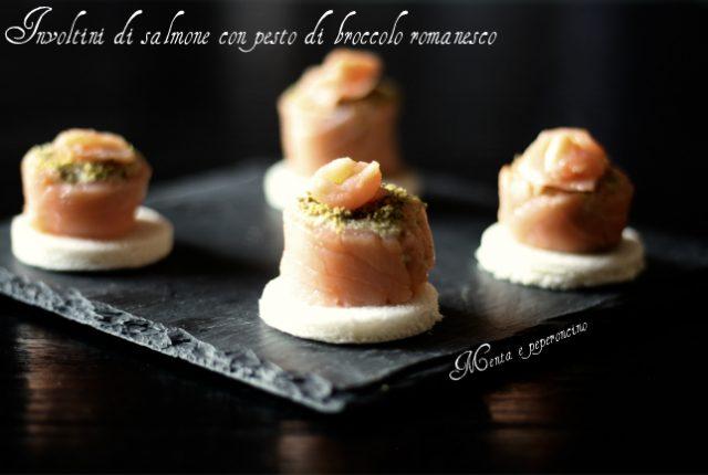 Involtini di salmone con pesto di broccolo romanesco