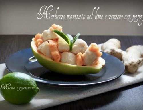 Merluzzo marinato nel lime e zenzero con papaya