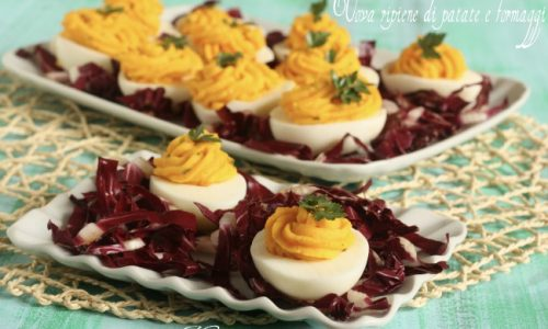 Uova ripiene di patate e formaggi