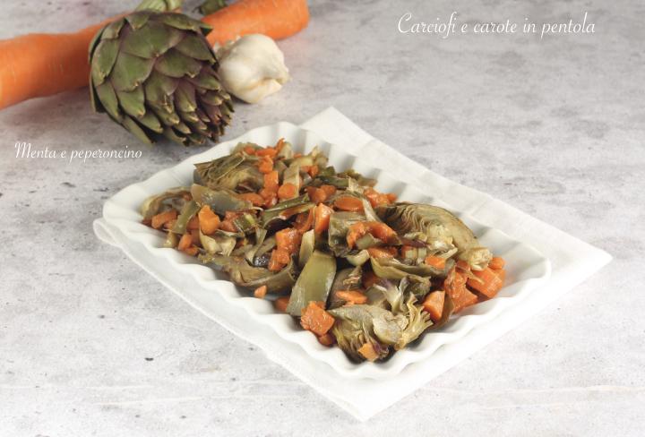 Carciofi e carote in pentola