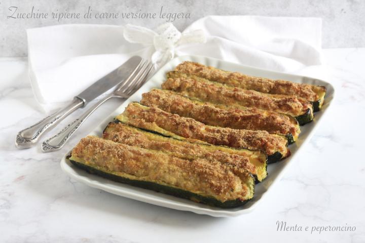 Zucchine ripiene di carne versione leggera