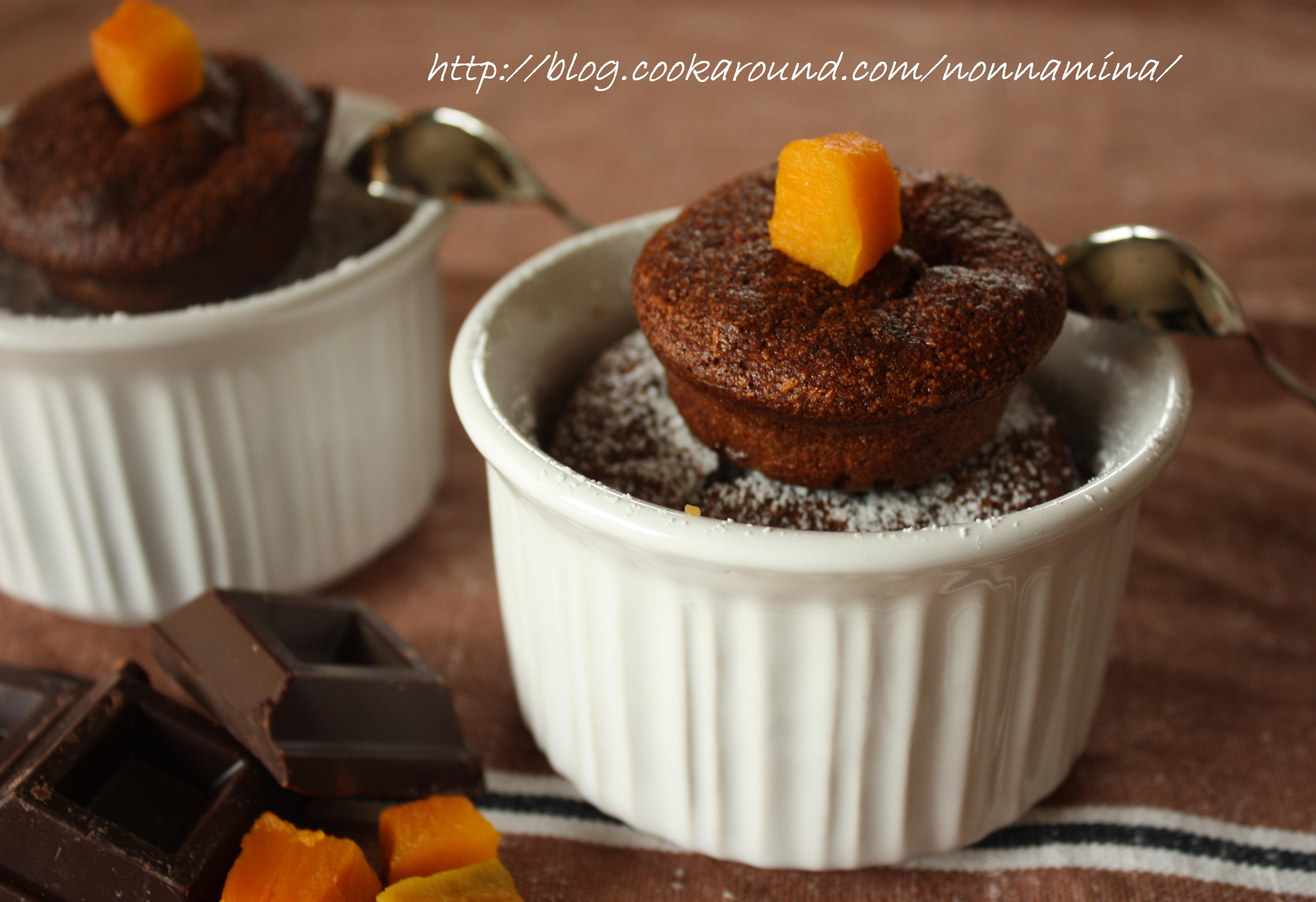 mini soufflè cioccolato e zucca