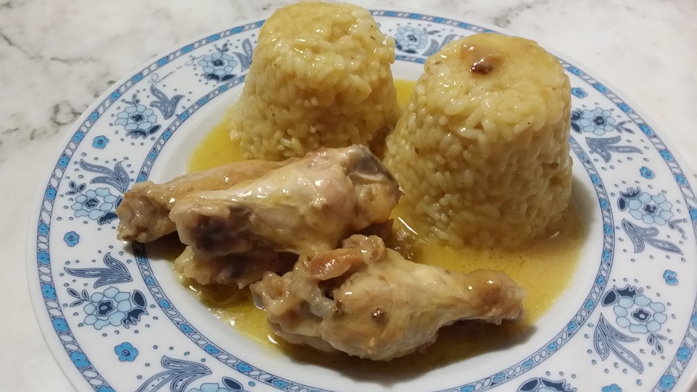 pollo con riso al curry