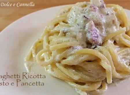 Spaghetti con Ricotta Pesto e Pancetta