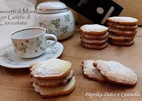Biscotti di Mais con Gocce di Cioccolato (anche senza glutine)