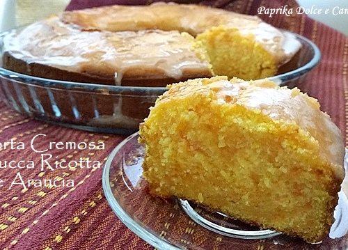 Torta Cremosa Zucca Ricotta e Arancia (Glassata all'arancia)