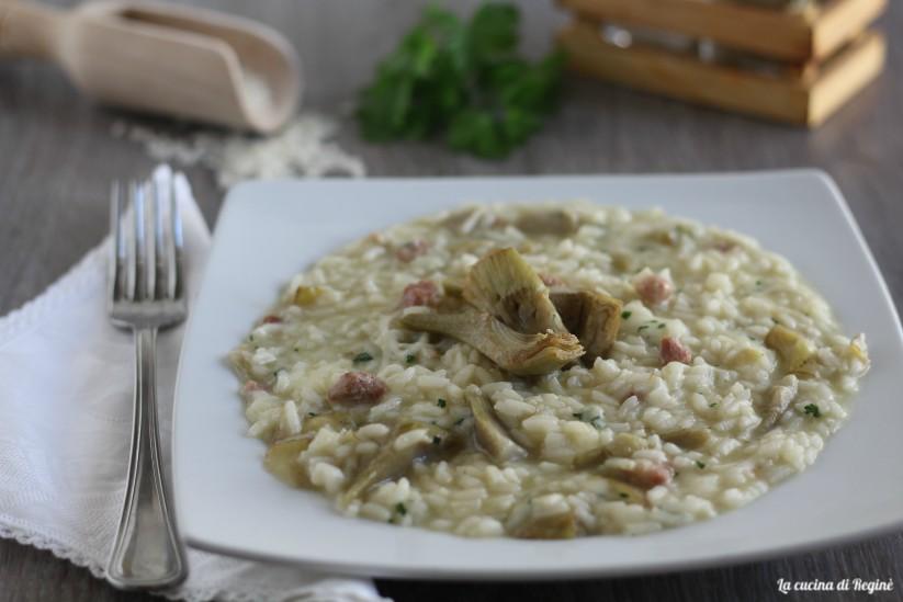 risotto carciofi, pancetta e scamorza