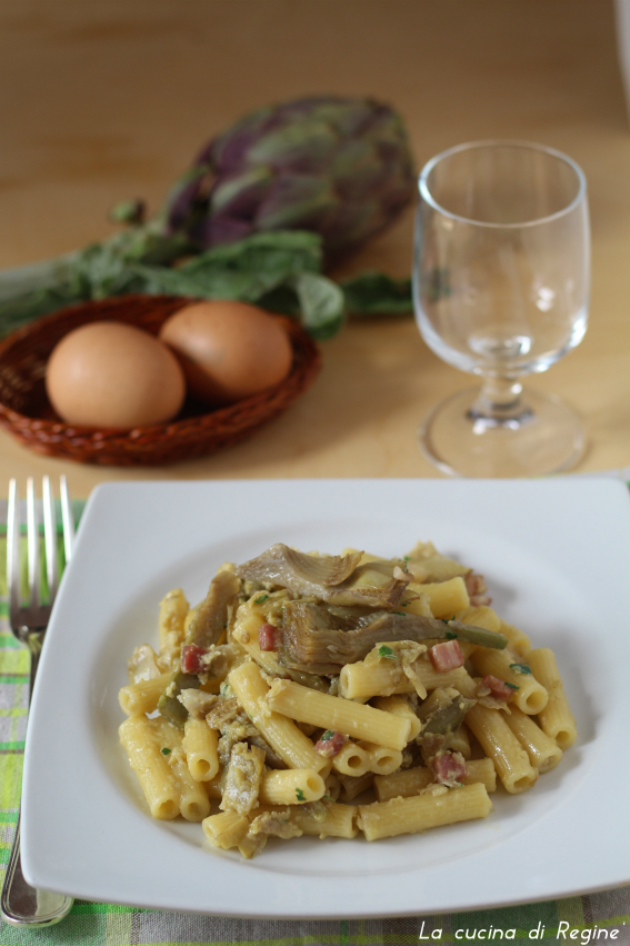 Carbonara con carciofi e pancetta