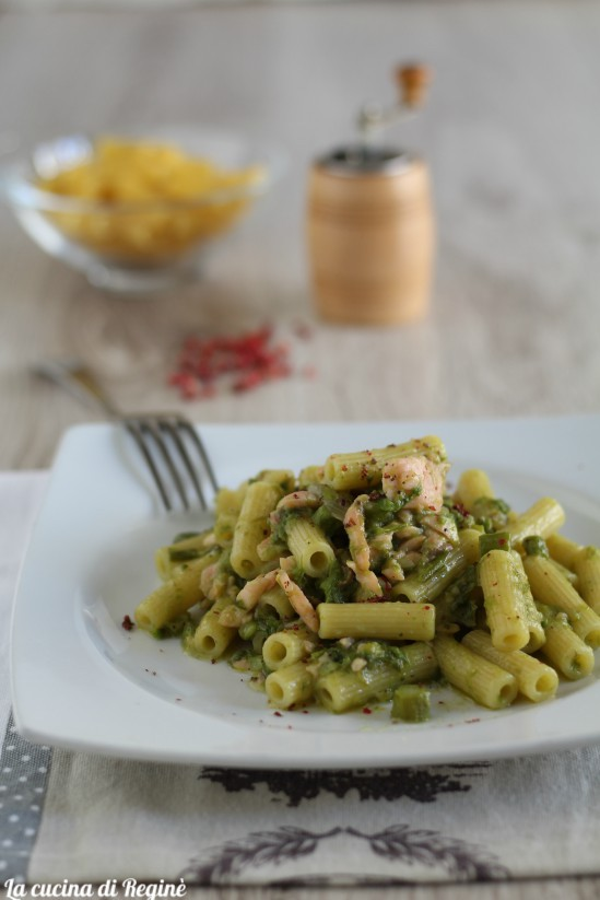 pasta salmone affumicato e crema di asparagi