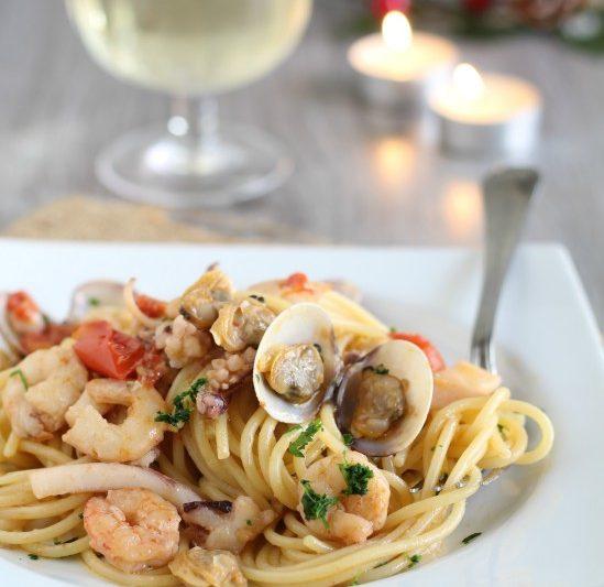 Spaghetti con misto mare fresco