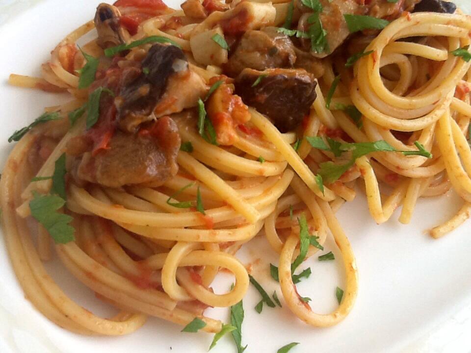 spaghetti quadrati con pesce e funghi surgelati - Come Cucinare I Funghi Surgelati