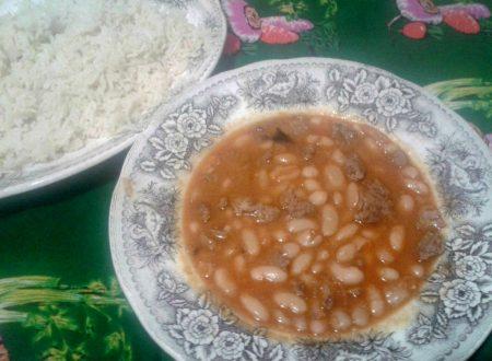Fagioli con manzo e riso pilaf