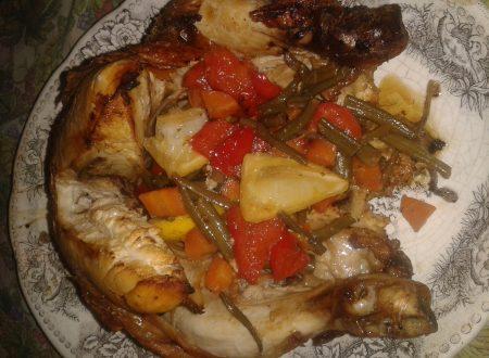 Pollo ripieno al limone e verdure