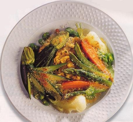 gratin di verdure con uova e pimpinella