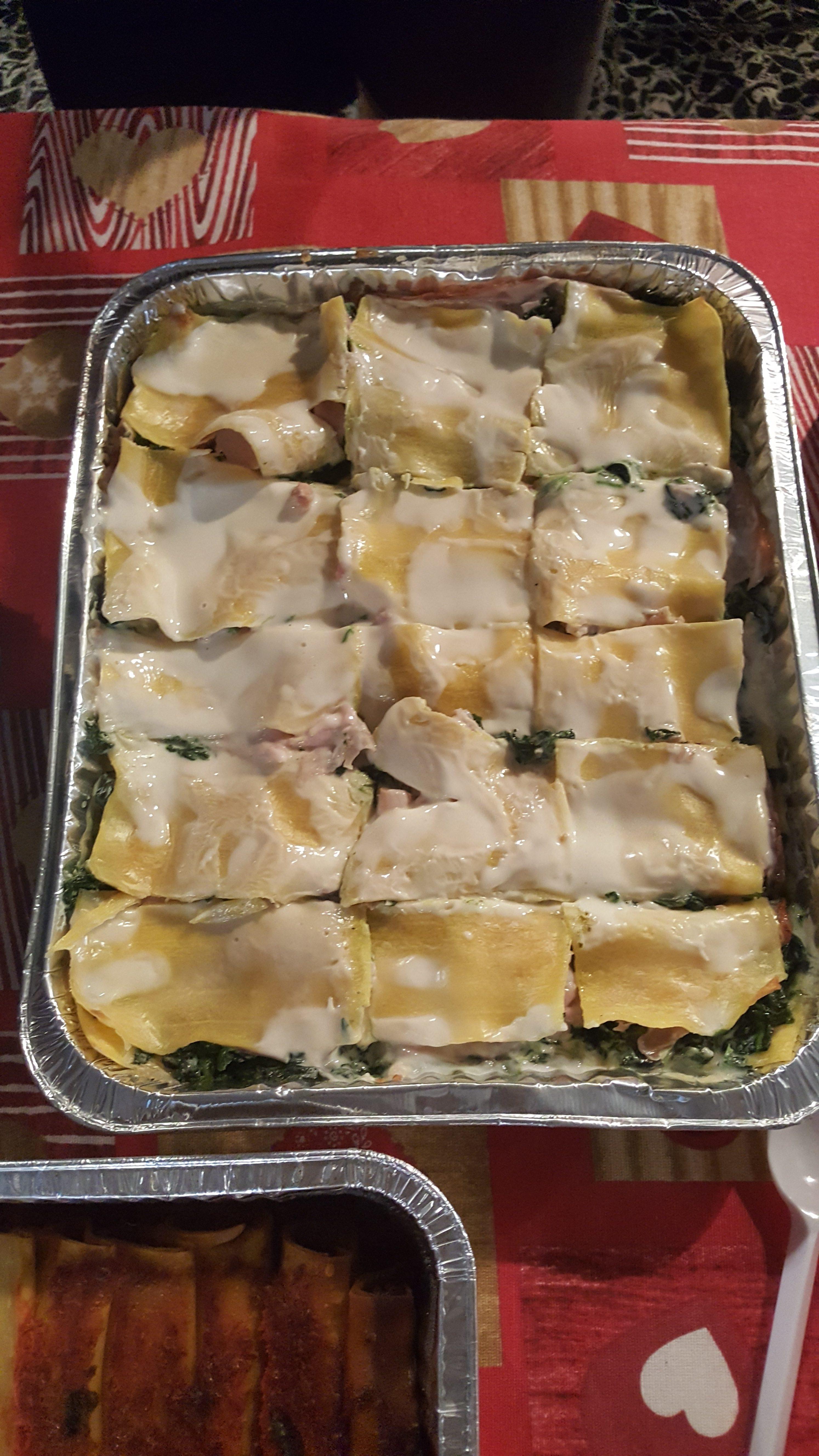 Lasagne Spinaci Pancetta e Prosciutto Cotto