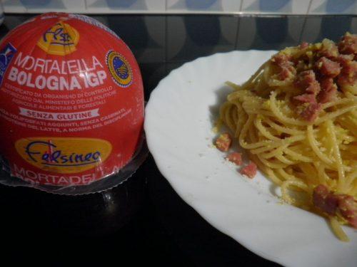 Spaghetti alla carbonara di Mortadella La Blu di Felsineo