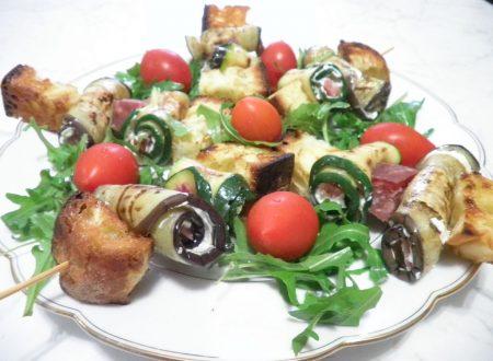 Spiedini con il Golfetta arrotolato con zucchine e melanzane grigliate