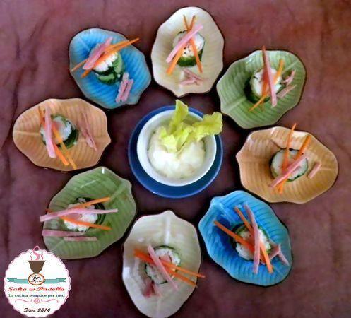 Sushi di prosciutto cotto riso e lattuga