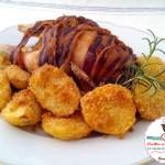 Galletto bardato al forno con pancetta e patate sabbiose
