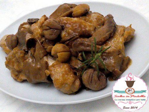 Galletto autunnale con castagne e funghi porcini